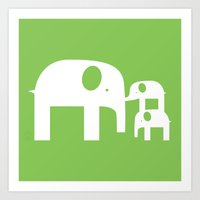 Green Elephants Art Print