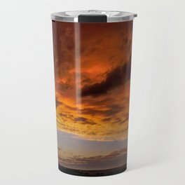 Fiery Clouds, Beach, ND Travel Mug