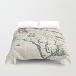 Vintage Map of The Carolinas (1676) Duvet Cover