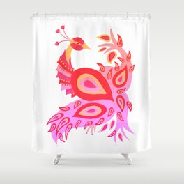Peacock – Pink & Peach Ombré Palette Shower Curtain