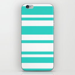 Mixed Horizontal Stripes - White and Turquoise iPhone Skin