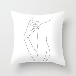 Line drawing figure illustration - Elsie Throw Pillow