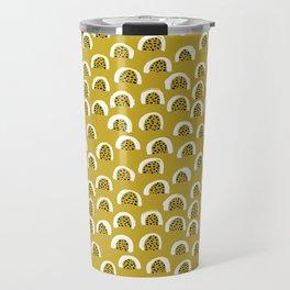Sunny Melon love abstract brush paint strokes yellow ochre Travel Mug