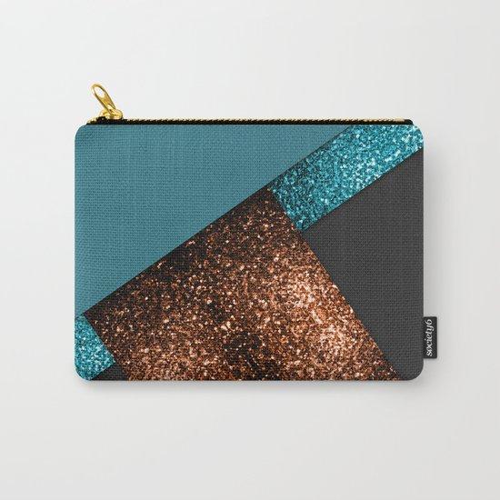 Aqua blue and bronze sparkles modern color block art Carry-All Pouch