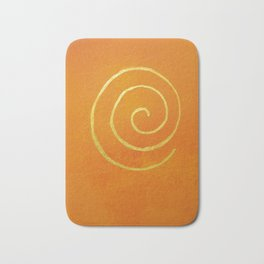 Infinity Bright Orange With Gold Abstract Modern Art Painting Bath Mat