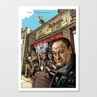 sopranos Canvas Prints featuring The Sopranos by ZIMZONOWICZ