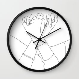 Line drawing illustration of linked fingers - Aisha Wall Clock