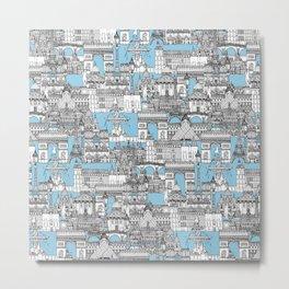 Paris toile cornflower blue Metal Print