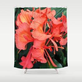 Firecracker Red Jungle Tropical Flower Shower Curtain