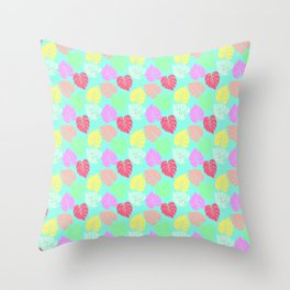 Pastel Rainbow Monstera Throw Pillow