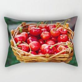 Wooden wicker basket with ripe red cherries Rectangular Pillow