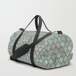 Old Moroccan Tiles Pattern Teal Beige Distressed Style Duffle Bag