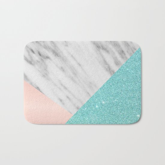 Real Italian Marble with Pink and Blue Bath Mat