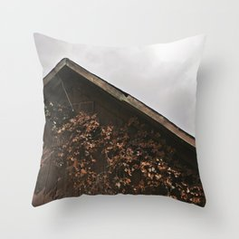Camouflage - Red Leaves on Barn Throw Pillow