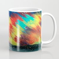 northern lights Mugs featuring Northern Lights by Chantalle Kryl Art