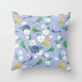 Budgies Pattern on Blue Throw Pillow