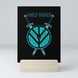 Viking Shield Maiden Badass Woman Warrior Mini Art Print