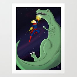 Carol Punches a Dino in Space Art Print
