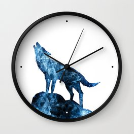Howling Wolf blue sparkly smoke silhouette Wall Clock