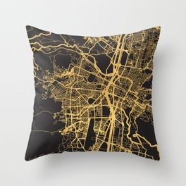 MEDELLIN COLOMBIA GOLD ON BLACK CITY MAP Throw Pillow