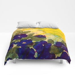 Sun on Blue Flowers Comforters