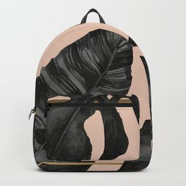 Classic Tropical Palm Leaves Powder Pink and Gold Backpack