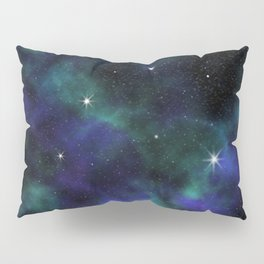 Blue Green Galaxy Pillow Sham