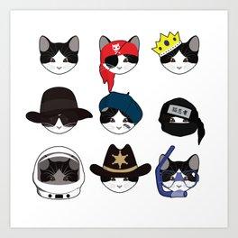 A Cat Living Nine Lives Art Print