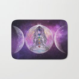 Golden Ascension Galactic Grape Zen - Mandala Bath Mat