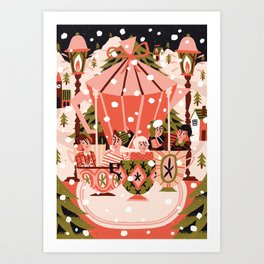Christmas Coffee Carousel Art Print