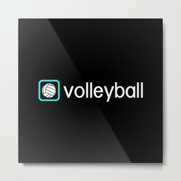 Volleyball (Blue) Metal Print