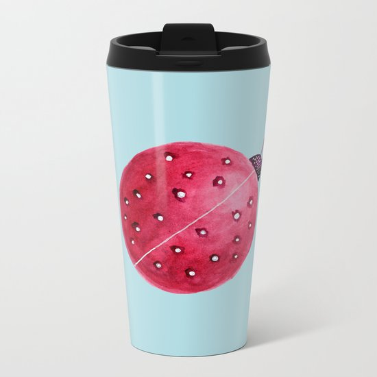 Spherical Abstract Watercolor Ladybug Metal Travel Mug