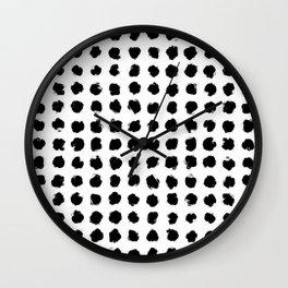 Black and White Minimal Minimalistic Polka Dots Brush Strokes Painting Wall Clock