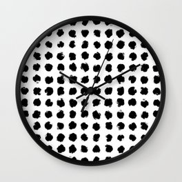 Black and White Minimal Minimalistic Polka Dots Brush Strokes Painting Wall Clock