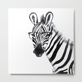 Zebra with glasses, black and white Metal Print