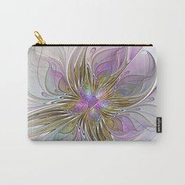 Flourish, Abstract Fractal Art Flower Carry-All Pouch