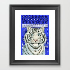 White Tiger in blue Az024 Framed Art Print