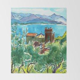 View of the sea and Monastery of Santa Croce, Liguria Throw Blanket