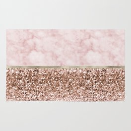 Warm chromatic - pink marble Rug