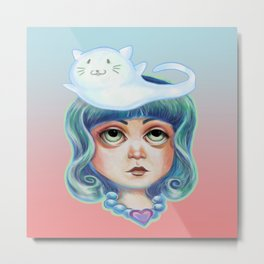 Thinking of Mew :: Little Girl and Cat Ghost Metal Print