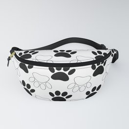 Black And White Dog Paw Print Pattern Fanny Pack