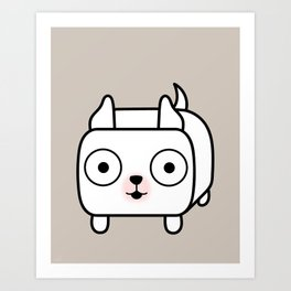 Pitbull Loaf - White Pit Bull with Cropped Ears Art Print