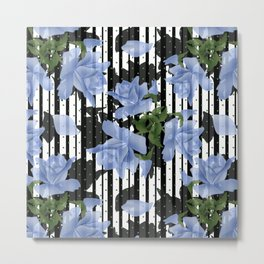 Blue roses on a black striped background. Metal Print