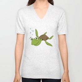 Smiling green Unisex V-Neck