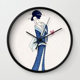 Blue geisha and butterfly Wall Clock