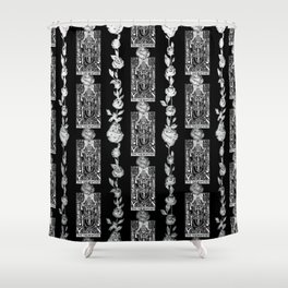 The Hierophant - A Tarot Floral Pattern Shower Curtain