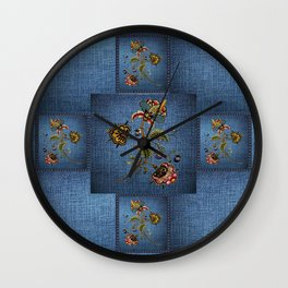 Denim Design With Jacobean Floral Wall Clock