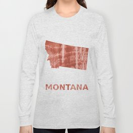 Montana map outline Red-brown colorful wash drawing painting Long Sleeve T-shirt