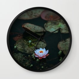 Dark Sensual Lily Pad Pond White Lotus Flower Wall Clock