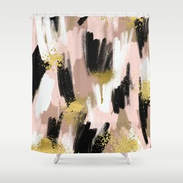 Blush and Gold Abstract Shower Curtain